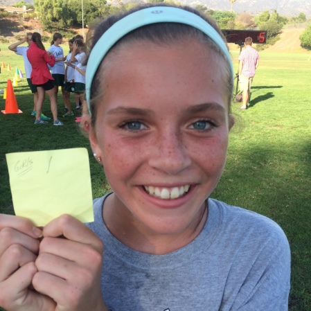 The course was a little less than a mile and Olivia's finish time was 6:15.