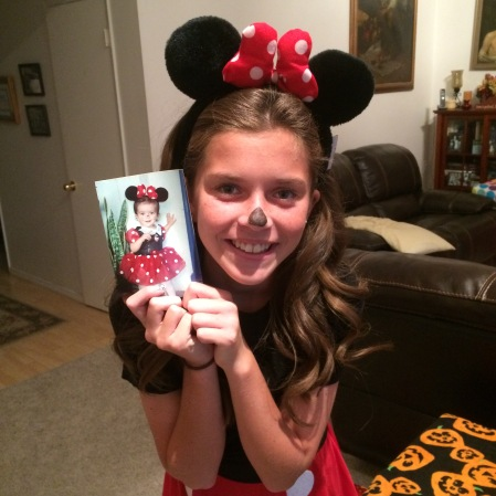 Olivia recycled parts of her Minnie Mouse costume from 11 years earlier!! Cutest. mouse. EVER!