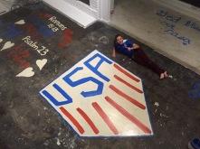 "Olivia's ""Floor Art"" before the carpet installation."